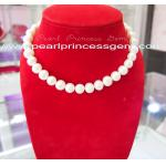 Large,Round White Pearl Necklace:สร้อยคอไข่มุกแท้ประกายเงางาม