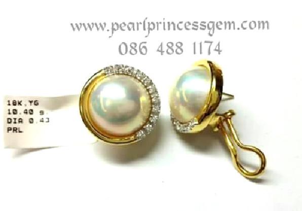 Mabe Pearl Earrings:ต่างหูไข่มุกมาบิล้อมเพชรแท้ตัวเรือนทองแท้ 18K ล้อมรอบด้วยเพชรแท้